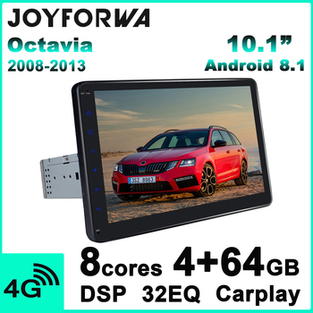 IPS 10.1Android Car Radio Stereo Autoradio head Unit Multimedia Player for Skoda Octavia 2 2013 2008 Rear Camera DVR TPMS OBD2 image