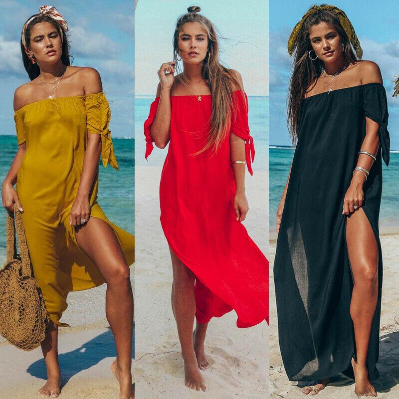 Summer New Arrival Women Dress Cover-Ups Sexy Ruffle Off Shoulder Beachwear See-through Chiffon Maxi Dresses Beach Sundress