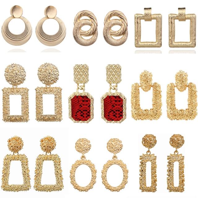 Vintage Earrings Large for Women Statement Earrings Geometric Gold Metal Pendant Earrings Trend Fashion Jewelry 2