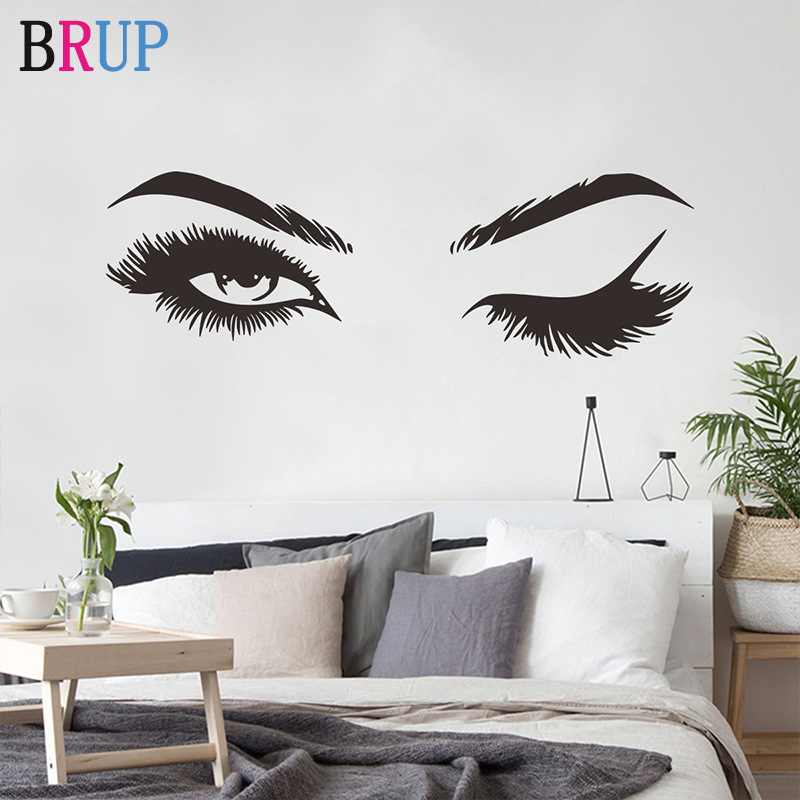 New Pretty Eyelashes Eyebrow Wall Stickers Big Eyes Sexy Girls Wall Stickers For Furniture Home Decoration Art Poster DIY Vinyl