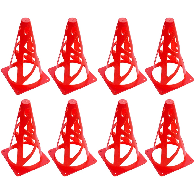 8 Pack Soccer Training Cones Collapsible Windproof Football Training Markers Agility Cones