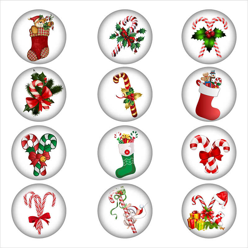 Рождественские вещи чулок конфеты трости стеклянная Кнопка DIY ювелирные изделия круглые фото Кабошоны с плоской обратной стороной DA1179