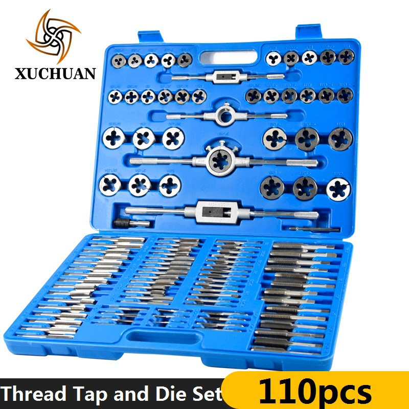 110pcs Matric Thread Tap And Die Set HSS Plug Tap Die Wrench Set Hand Tapping Tools Metal Screw Hole Tap Drill Set