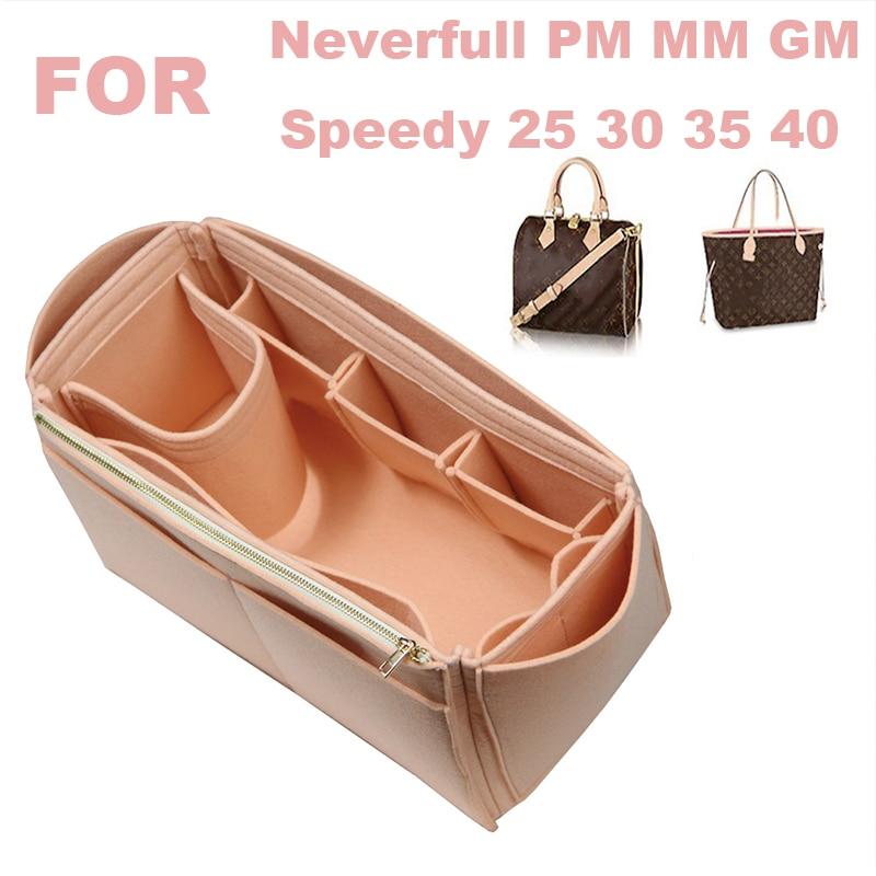 Fits[Neverfull MM PM GM ,Speedy 25 30 35 40]Handmade 3MM Felt Tote Organizer Purse Insert Bag in Makeup Diaper Handbag