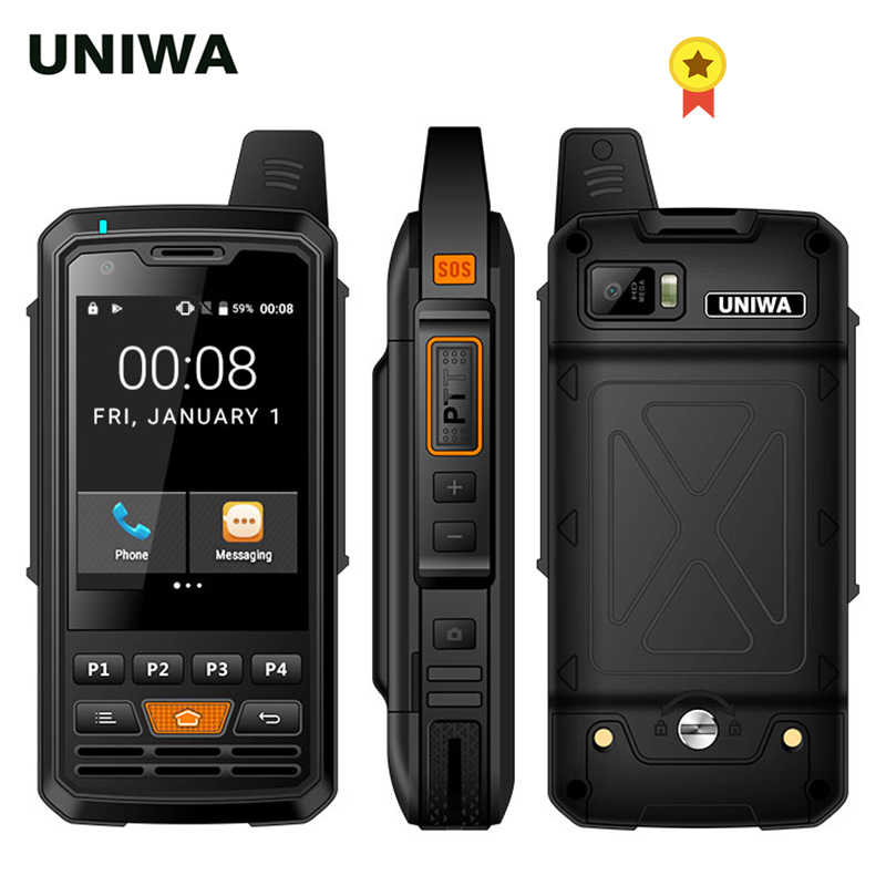UNIWA F50 Zello PTT Walkie Talkie 2.8 inch Touch Screen 4000mAh 4G LTE Android 6.0 Smartphone Quad Core 2G 3G 4G Cellphone image