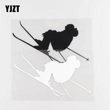 YJZT 16.5×9.8CM Ski Car Sticker High Quality Vinyl Decal Car Window Decoration Black/Silver 20A-0042
