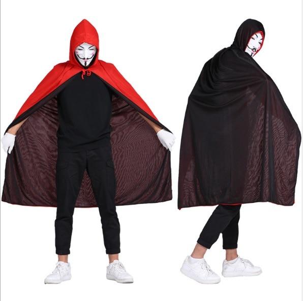 Женский и мужской костюм на Хэллоуин, накидка вампира смерти, костюм с капюшоном для взрослых, одежда для косплея черного и красного цвета с ...