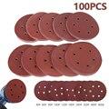 100 шт. 5/6 дюйма 125 мм/150 мм круглый наждачная бумага набор с шестью отверстиями диск песка листы шлифовальные диски на застежке-липучке наждач...