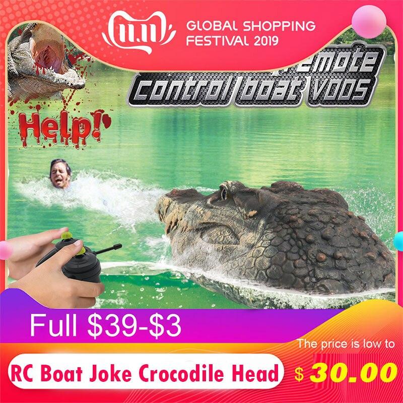 RC Boat Joke Crocodile Head Alligator Decoy Pond Float Simulation Doll Garden Crocodile Head  Fun Novelty Simulation Spoof Toy