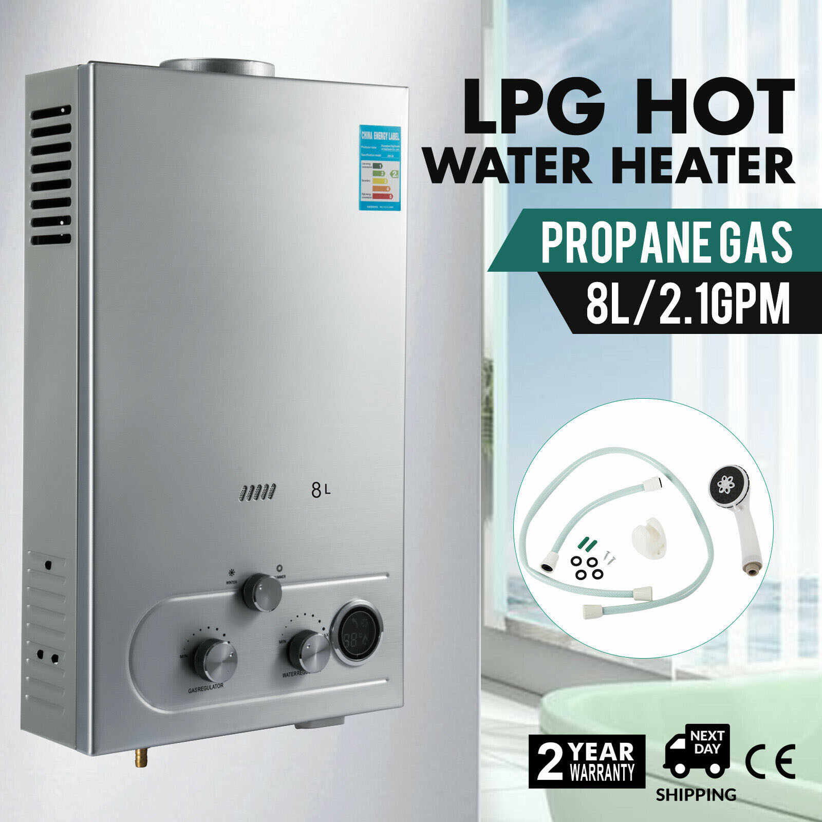 8L//min Hot Water Heater Natrual Gas Instant Boiler Camping Shower 16KW 2.11 GPM