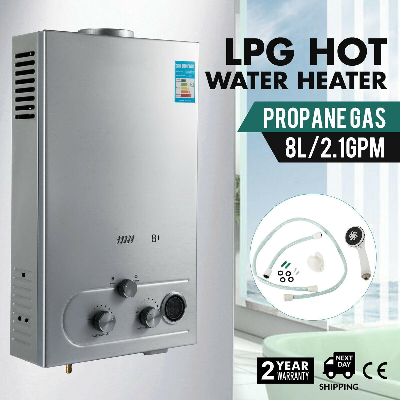 VEVOR Hot Water Heater Propane Gas LPG 8L On-Demand Tankless Water Heater Digital