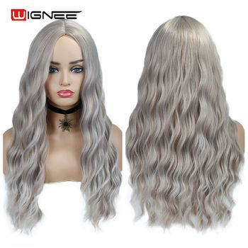 Wignee Ombre Long Wavy Grey Heat Resistant Synthetic Wig For WomenBrown Blonde/Grey  American Cosplay/Party Natural Hair Wigs wignee 3 tone ombre women wig black to brown blonde middle part heat resistant synthetic wigs cosplay hair for african american