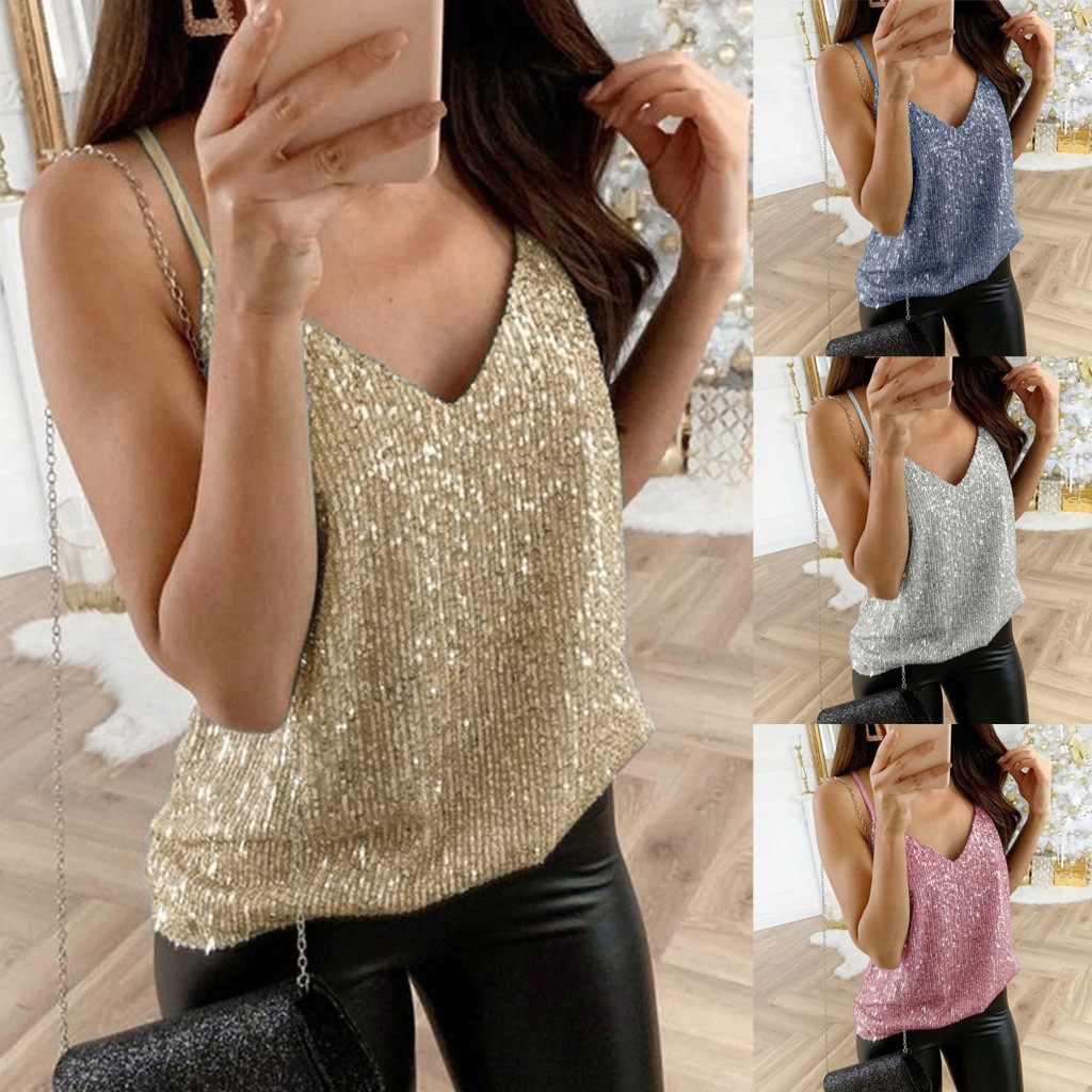 Women Sexy   Tops   Glitter Strappy Sequined   Tank     Tops   Party Clubwear Vintage Gothic Sparkle Swing Vest ChalecoW5