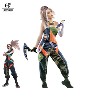 ROLECOS LOL True Damage Akali Cosplay Costume LOL Akali Cosplay Women Jumpsuit Overall Pants Playsuits Strap Trousers Tube Top(China)