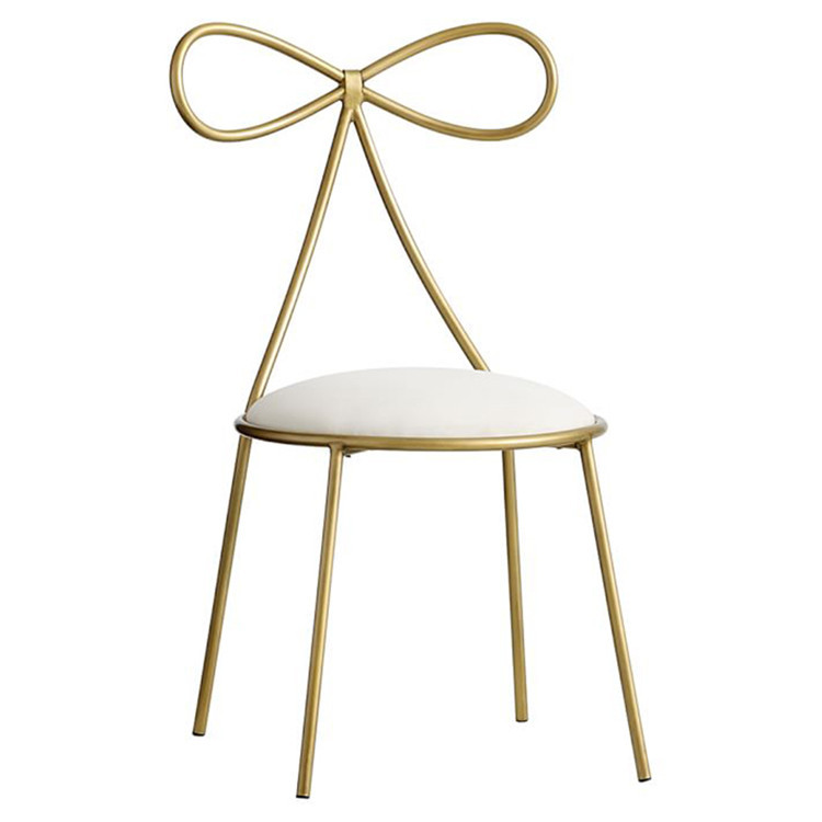 Quality Metal Chair Fashion Nordic Bar Leisure Stool Modern Make Up Chair Dining Chair with Bow Shape Backrest with Foam Sponge