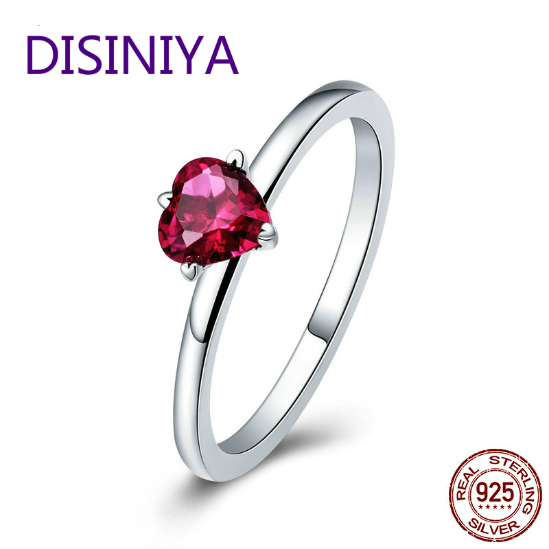 DISINIYA 925 Silver Coin Red Heart Pavi Crystal CZ Ring Fashion Female Valentine 39 s Day Wedding Gift Jewelry Sc389 in Wedding Bands from Jewelry amp Accessories