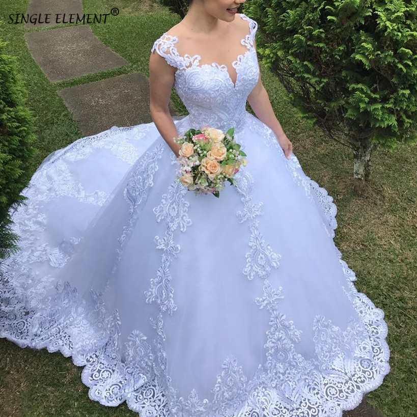 Romantic Cap Sleeve Plus Size Custom Made Ball Gown Lace Applique Wedding Dresses