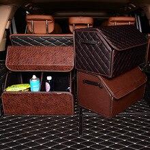 Katlanabilir araba depolama Stowing Tidying PU deri araba bagajı organizatör kutusu saklama çantası otomatik çöp kutusu alet çantası
