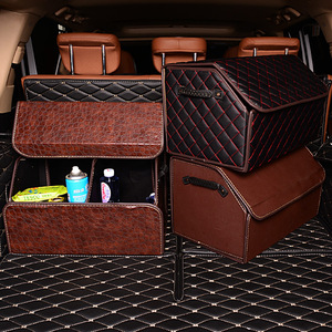 Image 1 - Katlanabilir araba depolama Stowing Tidying PU deri araba bagajı organizatör kutusu saklama çantası otomatik çöp kutusu alet çantası