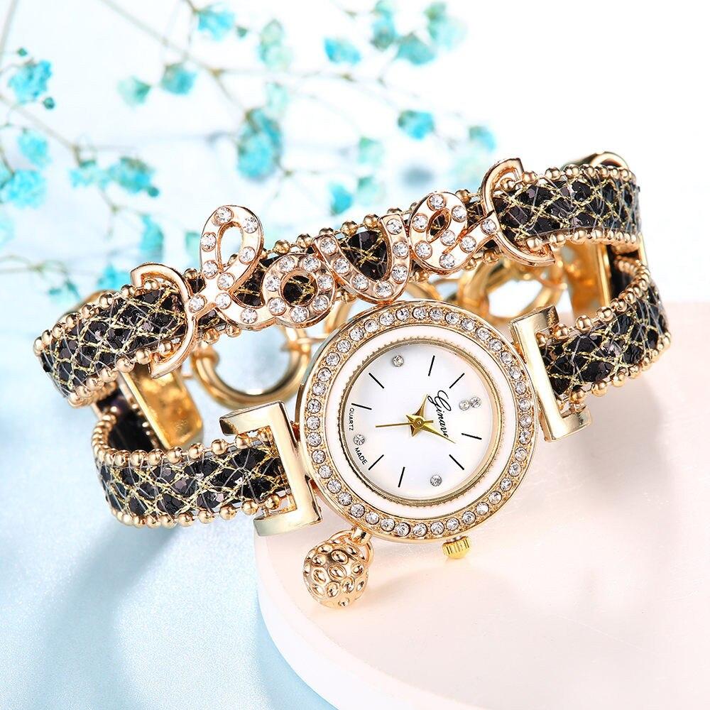 GENEVA Top Brand Women Bracelet Watches Ladies Love Leather Strap Rhinestone Quartz Wrist Watch Luxury Fashion Quartz Watch W50