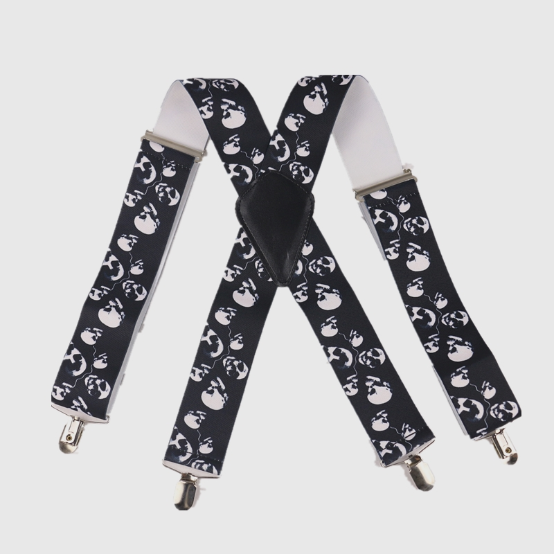 Free Shipping  5CM Wide Suspenders Black Y Back 4 Clips Halloween Skull Heavy Duty Suspenders Braces Mens