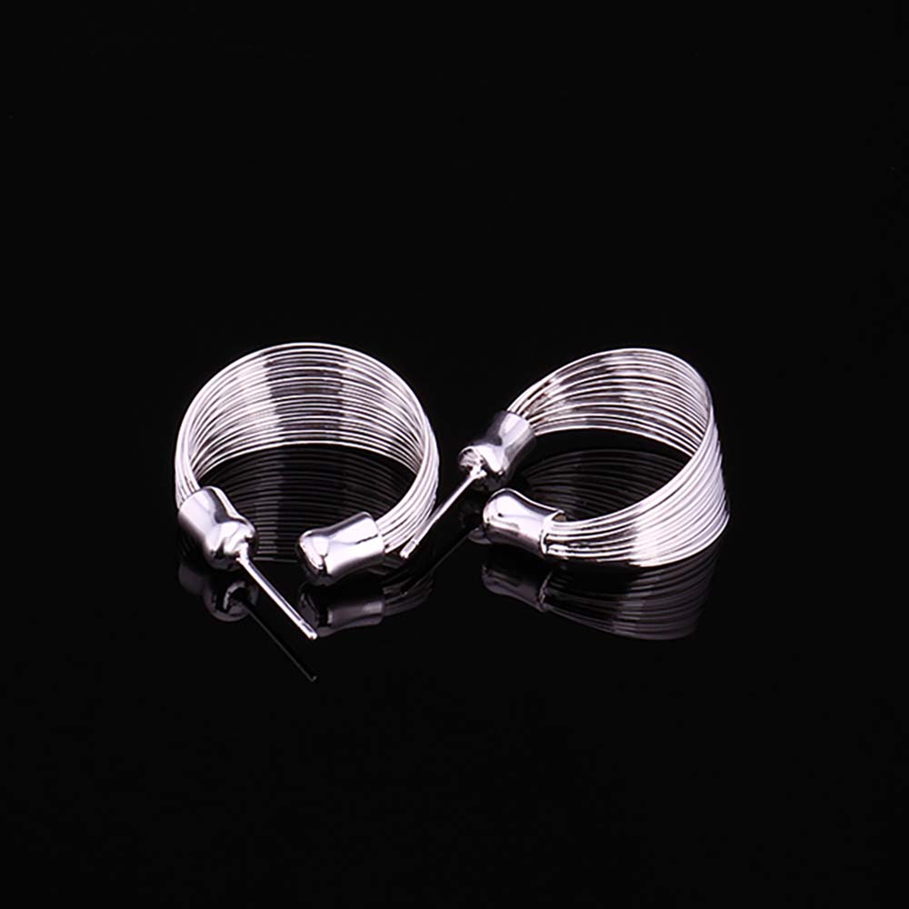 New Korean Vintage Multi Line Hoop Earrings for Women 2020 925 Sterling Silver Statement Fine Party Jewelry Brincos Female Gifts
