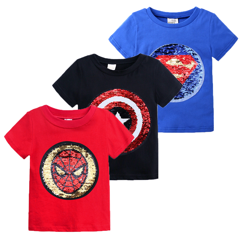 Childrens Boys T Shirt Baby Cotton Clothing Summer T-shirt Kids Cartoon Change Pattern Top Tee Size 2-6 Year