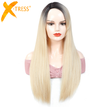 Ombre Blonde Color Side Part Synthetic Hair Wig With Bangs Long Straight Glueless Heat Resistant Fiber Hairpiece For Black Women