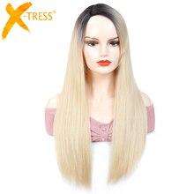 Perruque synthétique avec raie sur le côté ombré blond, postiche longue, lisse et sans colle en Fiber résistante à la chaleur pour femmes noires