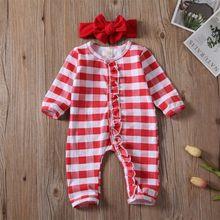 Рождественский комбинезон для новорожденных мальчиков и девочек; пижама в полоску; одежда для сна
