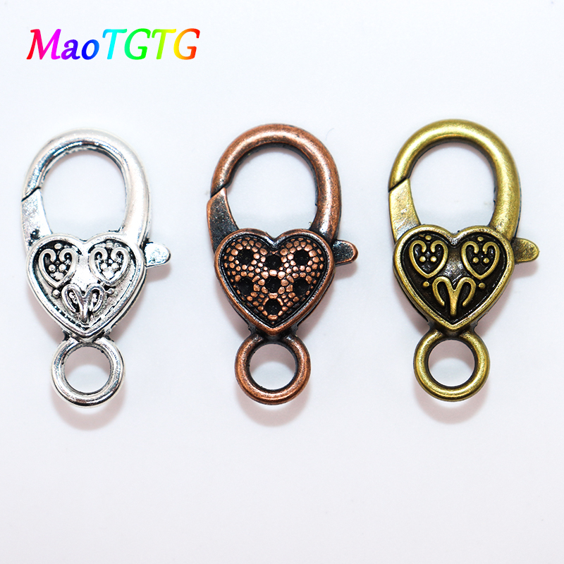 5Pcs 10Pcs Gold Silver Plated Copper /& Shiny /& Charms Heart Lobster Clasps