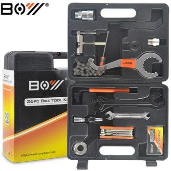 BOY Bicycle maintenance of repair tools Kit 14 In1 Box for Crank BB Bottom Bracket Hub Freewheel Pedal Spoke Chain Repair toos