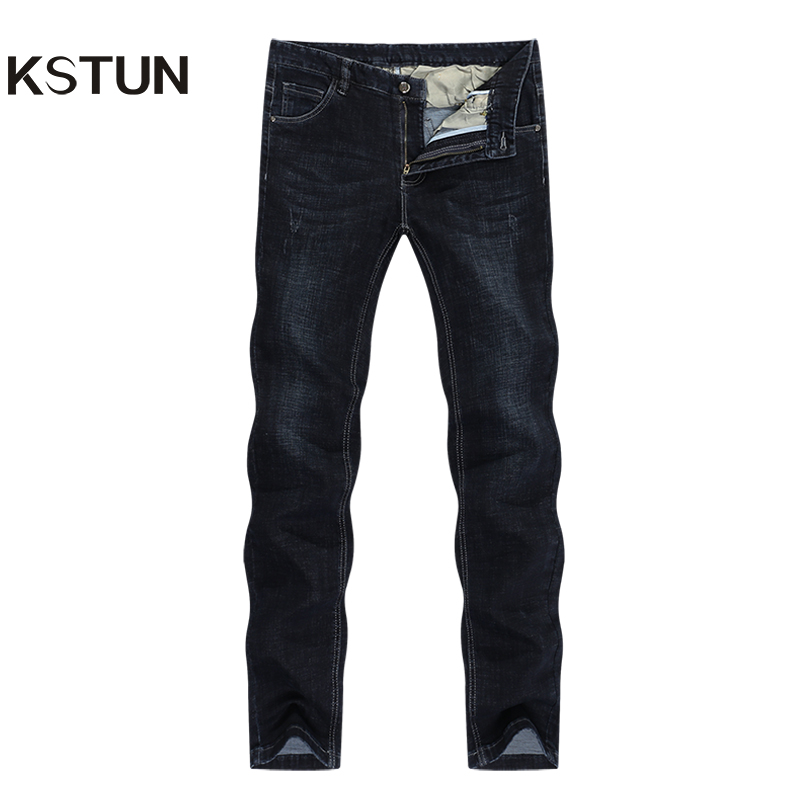 KSTUN Jeans For Men Famous Brand Black Jeans Winter Stretch Business Casual Male Straight Classic Trousers High Quality Big Size