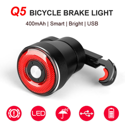Newboler Q5 Smart Sepeda Rem Belakang Lampu Auto Sensing Cahaya Yg Tahan Hujan LED Bersepeda Belakang Isi Ulang Peta Lampu Belakang Sepeda