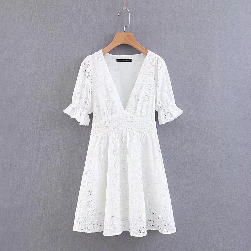 <font><b>AliExpress</b></font> EBay New Style Europe And America WOMEN'S <font><b>Dress</b></font> Cotton All Embroidered V-neck <font><b>Dress</b></font> Versitile Fashion image