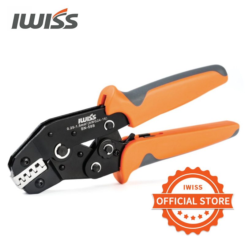 IWISS SN-58b 6.3/ 4.8/2.8 Plug Spring Crimping Tool Ratchet Terminal 0.25-1.5mm Crimping Tool Cold-pressing Bare Terminal Clamp