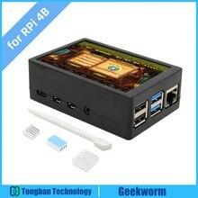 Ahududu Pi 4 Model B 3.5 inç 480x320 TFT dokunmatik ekran ABS durumda kiti, ahududu Pi 4 LCD ekran Max 50FPS