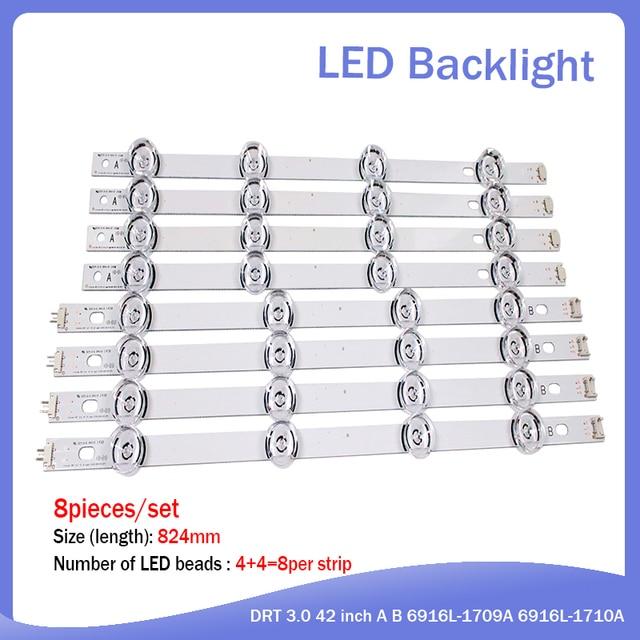 """100% 새로운 825mm LED 백라이트 램프 스트립 8 LED LG INNOTEK DRT 3.0 42 """"_ A/B 유형 REV01 REV7 131202 42 인치 LCD 모니터"""