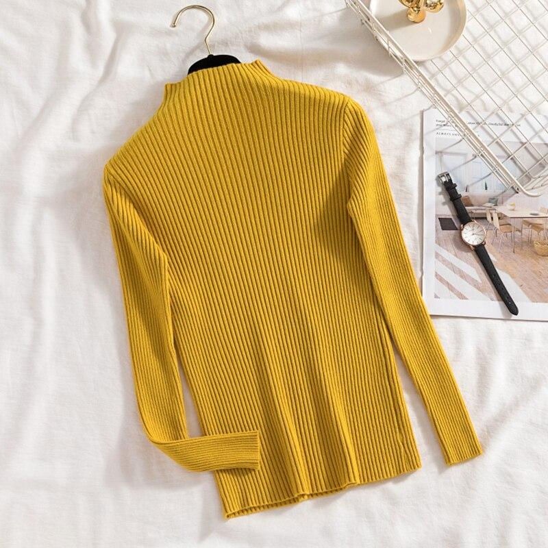 Купить пуловер с воротником хомутом для женщин осенняя корейская приталенная