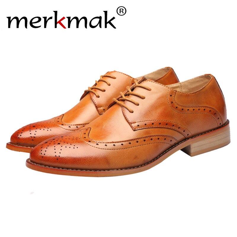 Merkmak Business Men Casual Shoes Breathable Comfortable Oxfords Men Genuine Leather Dress Shoes Men Wedding Party Formal Shoes