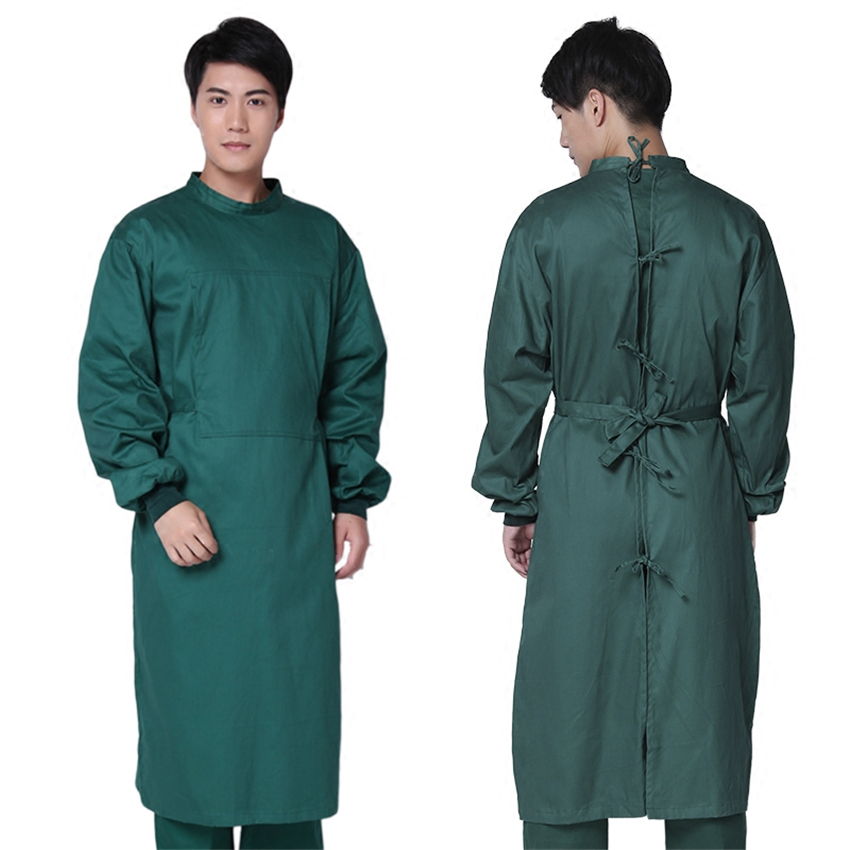 Long Sleeve Medical Suit Lab Coats Man Solid Green Hospital Scrub Uniform Surgical Gown Doctor Operating Slim Work Wear