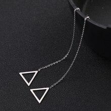 Sipuris Korean Geometric Triangle Drop Earrings Women Stainless Steel Long  Linear Threader Dangle Earring Jewelry