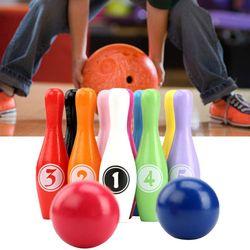 12 pçs/set Cor De Madeira Pinos de Bowling Set 10 2 Bola Jogo de Boliche para Crianças Interior Transporte da gota