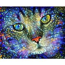 5d diy hd casa decoração pintura a spray pintura da lona diamante gato de vidro parede casa artesanal arte pintura mosaico