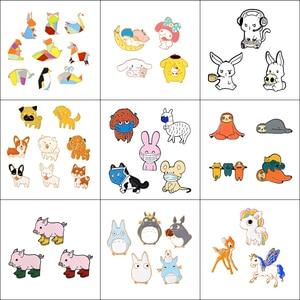 3-9 Pcs/Set Cartoon Enamel Animal Brooch Cat Kitten Dog Hippo Button Pins Shirt Jacket Lapel Pin Collar Badge Jewelry