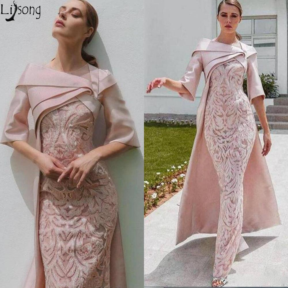 Sheath Dubai 2020 Evening   Dresses   with Cape Blush Pink Lace Applique Stain Half Sleeve   Prom     Dress   Floor Length Formal Party Gown