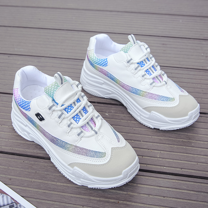 2019 New Fashion Rainbow White Sneakers Women Shoes Chunky Sneakers Platform Female Casual Shoes Trainers Chaussures Femme