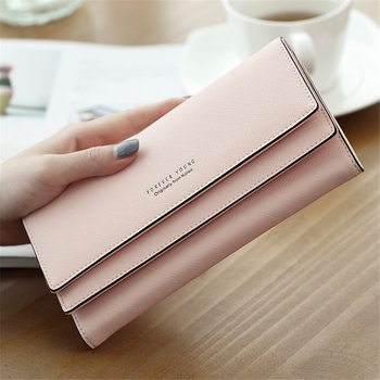 New Cute Women Wallets Simple Letters Long Fashion PU Leather Female Purse Clutch Money Coin