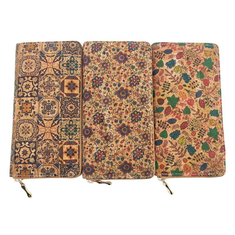 KANDRA Portugal Tile Pattern Print Natural Cork Wallet 2019 Wooden PU Leather Long Wallets Copper Zipper Card Holder Wholesale