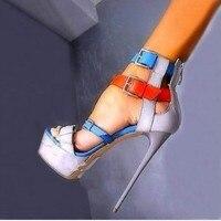 2019 sandales mode femmes chaussures Peep-orteil pompes Sexy 17.CM Super talons hauts gladiateur boucle sangle plate-forme hauteur 6.5cm